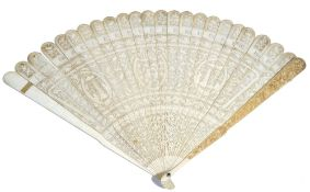 A Chinese ivory brisé fan, 19th century, carved and pierced with pagodas, birds and flowers,