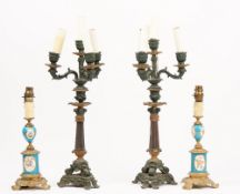 A pair of Sevres style porcelain and gilt metal mounted lamps, 20th century, 33cm high,