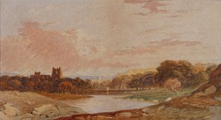 John Varley (British, 1778-1842), A landscape with a ruined castle,
