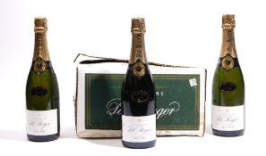 Six bottles of 1990 Pol Roger Extra Cuvee De Reserve vintage brut champagne.