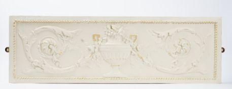 Three 20th century rectangular plaster panels in the Adam style, 100cm x 32cm.