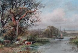 Henry Charles Fox (British, 1855-1929), River scene with cattle watering, Windsor Castle beyond,