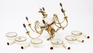 An Empire style gilt metal and white opaline glass chandelier, 20th century,