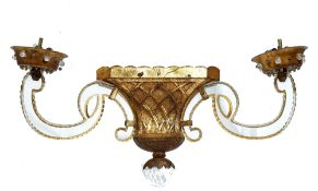 A pair of modern gilt painted metal and perspex twin branched wall lights, with lattice work bodies,