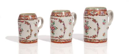 A set of three Chinese export famille-rose graduated tankards, late 18th century,