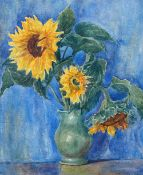 L*** D*** Eagle (British, 20th Century), Still life of sunflowers in a green vase,