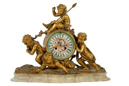 A French gilt-bronze and onyx mantel clock, 19th century,