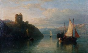 Follower of Edmund Thornton Crawford, Fishing boats in a mountainous water landscape, oil on canvas,