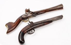 A 19th century Near Eastern flintlock blunderbuss pistol, possibly Turkish,