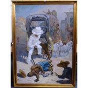 Hugo Vilfred Pedersen (Danish, 1870-1959), A Rickshaw Fatality, signed 'Hugo VP' (lower right),