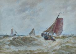 Thomas Bush Hardy (British, 1842-1897), Dutch Pincks returning to Katwijk,