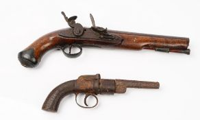 A Tower flintlock pistol, circa 1850, with circular steel barrel, 23cm,