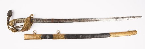 Three swords, comprising; a Victorian British Royal Naval officers sword,