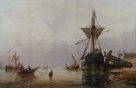 Richard Henry Nibbs (British, 1816-1893), Ships at Shoreham, signed 'R Nibbs' (lower left),