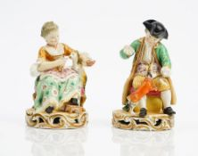 A pair of Derby porcelain figures, early 19th century,