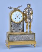 An Empire Ormolu and silvered Mantel Clock Modelled with military trophies The twin train movement