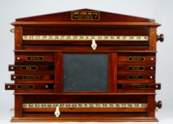 Robert Stevens, Sons & Co, an early 20th century mahogany snooker / billiards score board,
