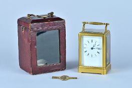 A French gilt brass one-piece case carriage clock By Grohé, Paris,