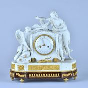 A Louis XVI ormolu and biscuit porcelain mantel clock The movement by Pierre Gavelle,
