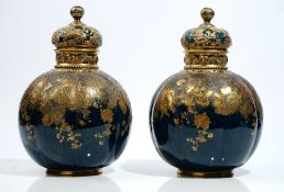 A pair of Crown Derby bone-china vases and covers, circa 1890, of lobed bulbous form,