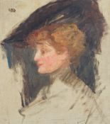 Follower of Albert de Belleroche, Profile of a lady wearing a hat, bears signature (lower right),