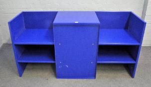 After Donald Judd, 1928- 1994, a blue metal low unit, 150cm wide x 75cm high.