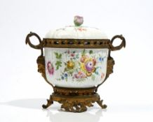 A Carl Thieme, Potschappel, gilt-metal mounted two-handled bowl and cover, late 19th century,