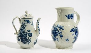 A Worcester blue and white cabbage leaf moulded mask jug, circa 1770,