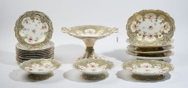 An English porcelain part dessert service, probably Ridgway or Minton, 1840's,