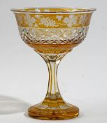 An amber stained glass footed bowl, 20th century,