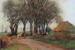 Henry Charles Fox (British, 1855-1929), Horse and cart passing a hayrick,