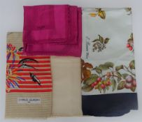 A collection designer silk scarves,