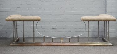 A Victorian style steel and grey suede upholstered club fender, 205cm wide x 55cm high.