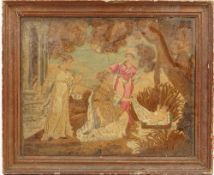 A 19th century stumpwork picture, depicting Moses being found in the bulrushes, in a giltwood frame,