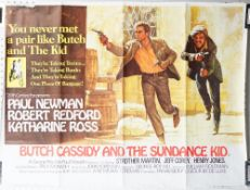 Film poster, Butch Cassidy and the Sundance Kid, printed in great Britain, folded and creased,