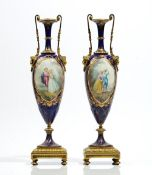 A pair of Sevres style porcelain gilt- metal mounted vases, late 19th century,