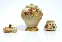 A Royal Worcester rose jar, lid and pierced cover, circa 1903,