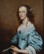 Adriaen Hanneman (The Hague circa 1601-1671), Portrait of a lady in a blue dress holding a fan,