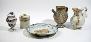 A group of Continental tinglazed earthenwares, various dates,