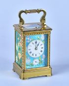A French brass three-panel Guilloché enamel repeating carriage clock with alarm Retailed by Henry