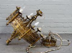 A 20th century Gothic revival six light brass chandelier, 87cm high x 62cm diameter.
