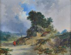 Edmund John Niemann (British, 1813-1876), A woman in a red cloak on a country lane,