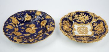 Two Meissen blue ground moulded dishes, early 20th century,