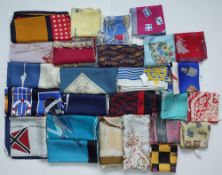 A collection of aviation and nautical themed silk scarves;