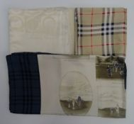 A Burberry golf themed silk scarf,