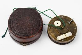 A mid-19th century mahogany cased brass and ivory mounted bird caller, possibly German,
