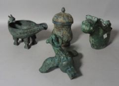 Three Chinese archaic style bronze vessels, a bird finial and a two handled vase.