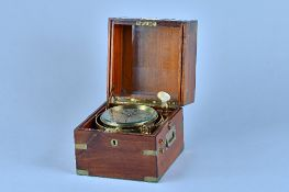 A brass-bound mahogany two-day marine chronometer Signed Christie & Wilson, Glasgow,