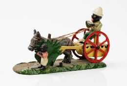 A painted cast iron automaton money box, detailed 'Bad Accident', 26cm wide (repainted).