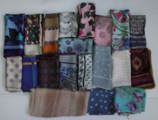 A large collection of printed silk scarves mainly designed by Richard Allan and Jaeger (20)